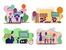 Vector different school compositions. And colorful backgrounds: school children in classroom at lesson, little pupils on September 1st. 2018 education concept vector illustration