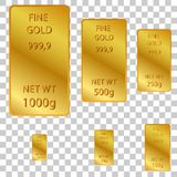 6 different size of fine gold at transparent effect background. Vector 6 different size of fine gold at transparent effect background Stock Photo