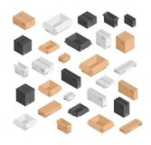 Vector different size isometric boxes set. 3d open and closed black, beige, white mail shipping boxes with bar codes vector illustration
