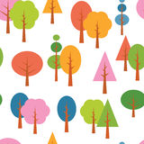 Vector different tree seamless seasons background Stock Image