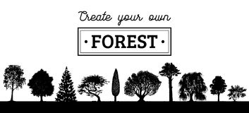 Vector different trees silhouettes. Create your own forest. Black woods icons set. Grove constructor. Royalty Free Stock Photos