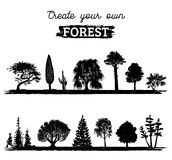 Vector different trees silhouettes. Create your own forest. Black woods icons set. Grove constructor. Vector different trees silhouettes. Create your own forest Royalty Free Stock Photos