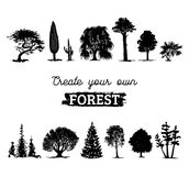 Vector different trees silhouettes. Create your own forest. Black woods icons set. Grove constructor. Royalty Free Stock Photography