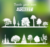 Vector different trees silhouettes. Create your own forest. Black woods icons set. Grove constructor. Royalty Free Stock Images