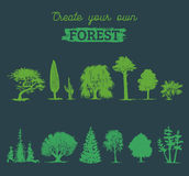 Vector different trees silhouettes. Create your own forest. Black woods icons set. Grove constructor. Stock Photo