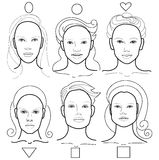 Vector different types of face Stock Images
