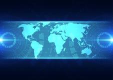 Vector digitaal globaal technologieconcept, abstracte achtergrond Royalty-vrije Stock Afbeeldingen