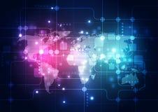 Vector digitaal globaal technologieconcept, abstracte achtergrond Royalty-vrije Stock Foto's