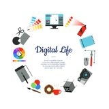 Vector digital art design icons circle concept. With place for text in center illustration Stock Image