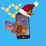 Vector digital bitcoin mobile wallet Stock Image