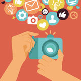 Vector digital camera in flat retro style Stock Photography