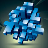 Vector digital 3d abstraction, geometric polygonal element. Spat. Ial technological blue shape perspective object Stock Photos