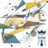 Vector digital 3d abstraction, geometric polygonal perspective mesh illustration. Stock Photos