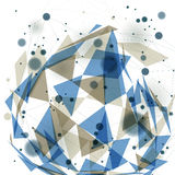 Vector digital 3d abstraction, geometric polygonal perspective mesh illustration. Royalty Free Stock Images