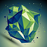 Vector digital 3d abstraction, lattice geometric polygonal missh Stock Photography