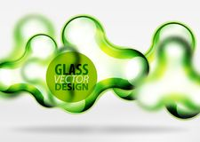Vector digital 3d space bubble, glass and metallic effects. Vector digital 3d space green bubble, glass and metallic effects. Technology abstract background Stock Photography