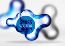 Vector digital 3d space bubble, glass and metallic effects. Vector digital 3d space blue bubble, glass and metallic effects. Technology abstract background Royalty Free Stock Photo