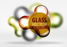 Vector digital 3d space bubble, glass and metallic effects. Vector digital 3d space orange bubble, glass and metallic effects. Technology abstract background Royalty Free Stock Image