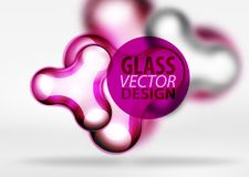 Vector digital 3d space bubble, glass and metallic effects. Vector digital 3d space purple bubble, glass and metallic effects. Technology abstract background Royalty Free Stock Photography