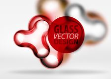 Vector digital 3d space bubble, glass and metallic effects. Vector digital 3d space red bubble, glass and metallic effects. Technology abstract background Royalty Free Stock Photos
