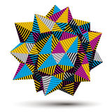 Vector digital 3d striped abstraction, geometric polygonal eleme. Nt. Spatial technological colorful shape, three-dimensional object Stock Photos