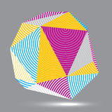 Vector digital 3d striped abstraction, geometric polygonal eleme. Nt. Spatial technological colorful shape, three-dimensional object Royalty Free Stock Photography