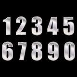 Vector digital de plata eps10 de los n?meros Números de Digitals en fondo negro stock de ilustración