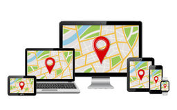Vector digital devices with GPS map on screen Royalty Free Stock Images