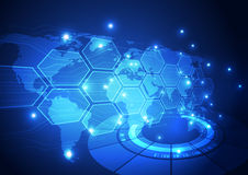 Vector digital global technology concept, abstract background Stock Photo
