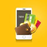 Vector digital mobile e wallet vector concept stock illustration