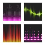 Vector digital music equalizer audio waves brochure card template audio signal visualization signal illustration. Royalty Free Stock Photos