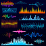Vector digital music equalizer audio waves design template audio signal visualization illustration. Royalty Free Stock Image