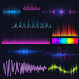 Vector digital music equalizer audio waves design template audio signal visualization illustration. Stock Image