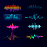 Vector digital music equalizer audio waves design template audio signal visualization signal illustration. Stock Photography