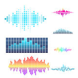 Vector digital music equalizer audio waves design template audio signal visualization signal illustration. Stock Image