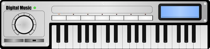 Vector Digital Music Synthesizer Keyboard Design Stock Photography