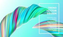 Color paint wave twist vector abstract background. Vector digital painting abstract background. Creative vivid 3d flow paint wave. Trendy blue green liquid Royalty Free Stock Photo