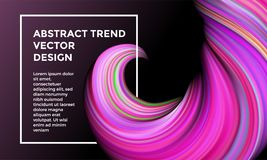 Color paint wave twist vector abstract background. Vector digital painting abstract background. Creative vivid 3d flow paint wave. Trendy pink liquid banner Royalty Free Stock Photos