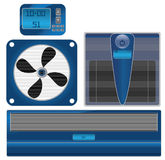 Vector Digital thermometer and air conditioning. Air Conditioning, fan, electric thermometer, and cleaner air Royalty Free Illustration