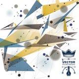 Vector digitale 3d Abstraktion, geometrische polygonale Perspektivenmaschenillustration Stockfotos