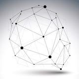 Vector digitale 3d Abstraktion, geometrischer Gegenstand des Gitters Lizenzfreies Stockbild
