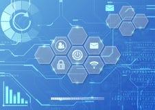 Vector digitale globale technologieinterface, abstracte achtergrond Royalty-vrije Stock Afbeelding