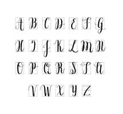 Vector digitally drawn calligraphy alphabet. Hand lettering imitation Royalty Free Stock Photography