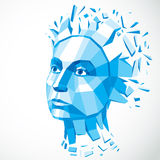 Vector dimensional low poly female portrait, blue graphic illust Royalty Free Stock Photos