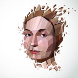 Vector dimensional low poly female portrait, graphic illustratio Royalty Free Stock Image