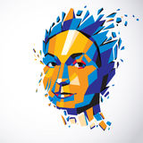Vector dimensional low poly female portrait, graphic illustratio Royalty Free Stock Photos