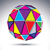 Vector dimensional modern abstract object, 3d disco ball isolate. Vector dimensional modern abstract object, 3d disco ball  on white background. Psychedelic Stock Photo