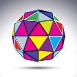 Vector dimensional modern abstract object, 3d disco ball. Psyche. Delic rich globe with bright isosceles triangles, kaleidoscope element Stock Photo