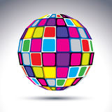 Vector dimensional modern abstract object, 3d disco ball. Psyche. Delic rich globe with bright squares, gemstone stylish element Stock Image