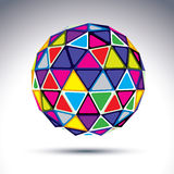 Vector dimensional modern abstract object, 3d disco ball. Psyche. Delic rich globe constructed from bright isosceles triangles with outline, kaleidoscope element Royalty Free Stock Photo